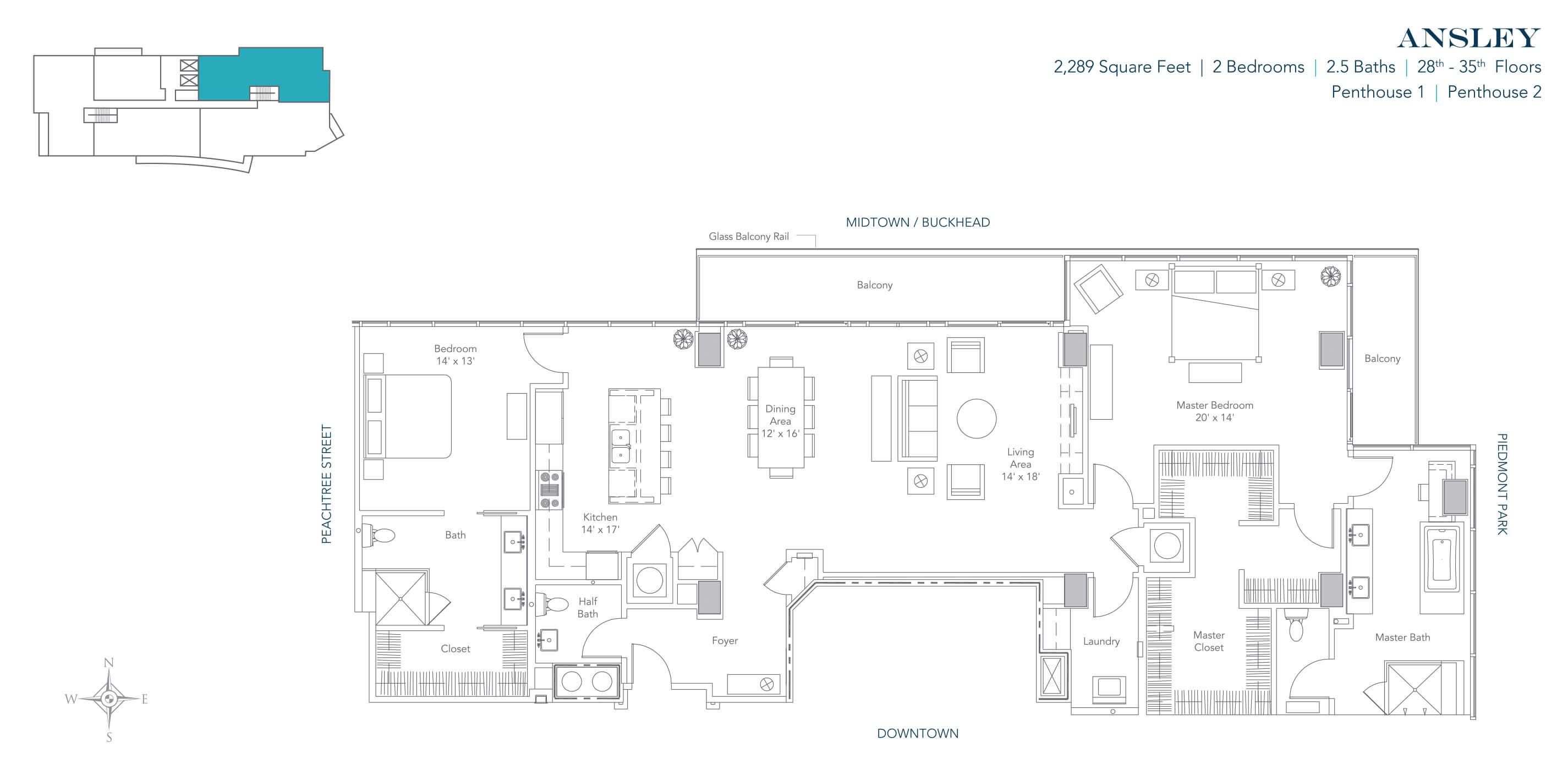 The Ansley Floor Plan: 1065 Midtown